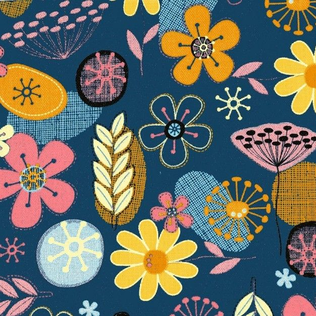 Navy Floral Canvas PVC Coating