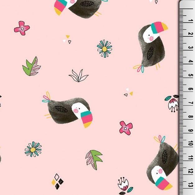Cotton Jersey Fabric Toucans