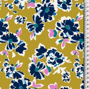 Cotton Jersey Fabric Ochre Flowers