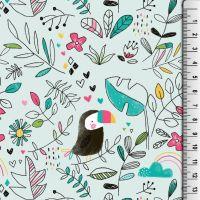 Cotton Jersey Fabric Mint Toucans