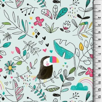 Cotton Jersey Fabric Mint Toucans