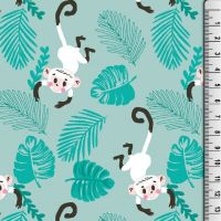 Cotton Jersey Fabric Monkeys