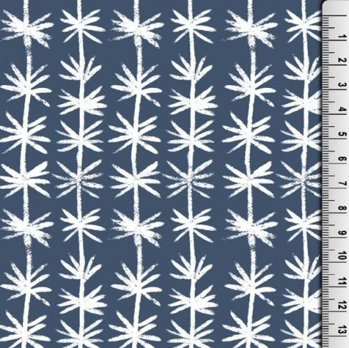 Cotton Jersey Fabric Navy White Print