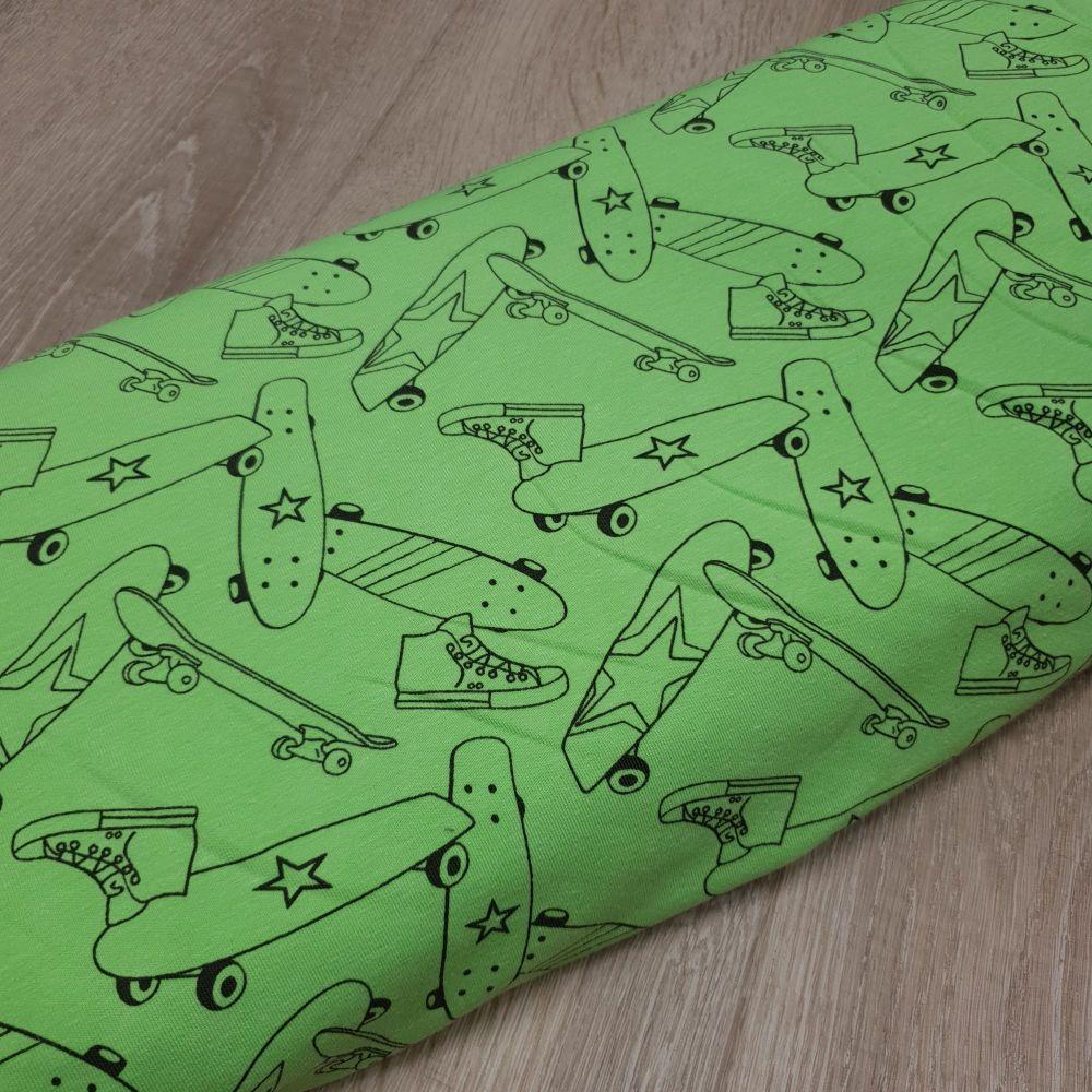 Cotton Jersey Fabric Skateboard Neon Green