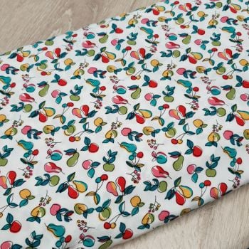 Viscose Fabric Apples & Pears White