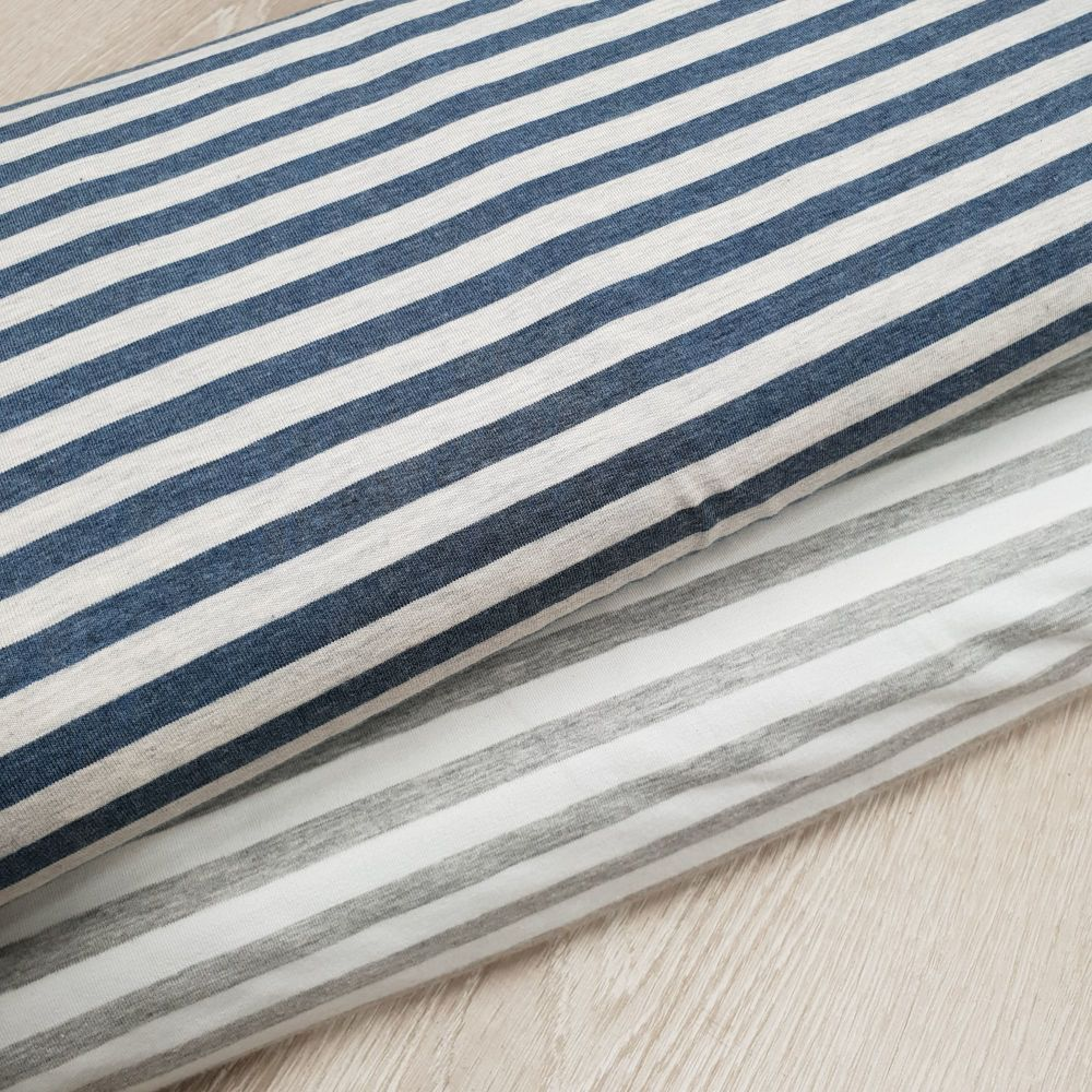 Jersey Fabric Stripes Grey