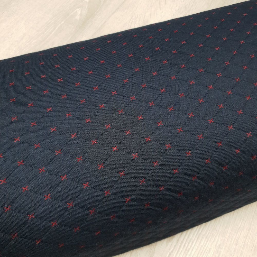 Quilted Knit Fabric Red Cross