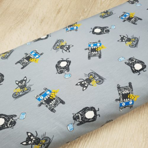 Cotton Jersey Fabric Monsters