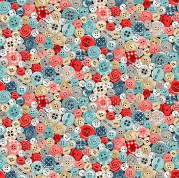 Makower Stitch In Time Buttons Cotton Fabric