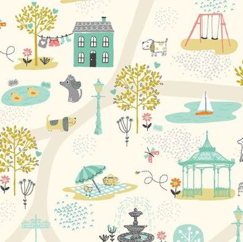 Makower A Walk In The Park Scene Cream Cotton Fabric