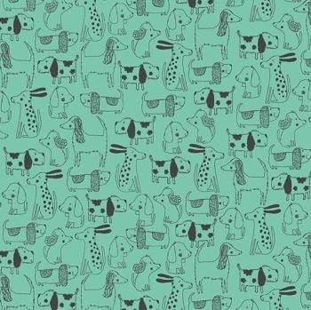 Makower A Walk In The Park Outline Turquoise Cotton Fabric