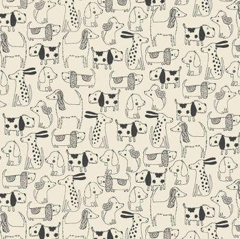 Makower A Walk In The Park Outline Cream Cotton Fabric