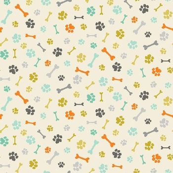 Makower A Walk In The Park Paws Cream Cotton Fabric