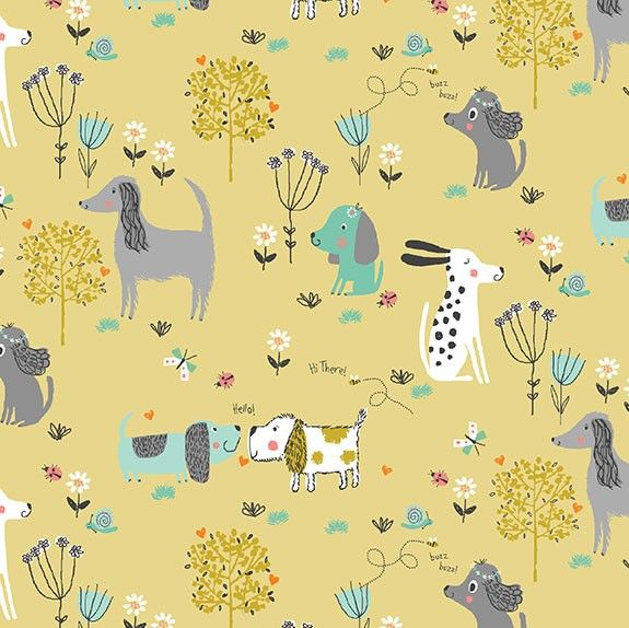Makower A Walk In The Park Dogs Gold Cotton Fabric