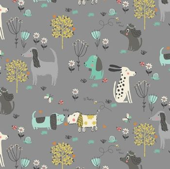 Makower A Walk In The Park Dogs Grey Cotton Fabric