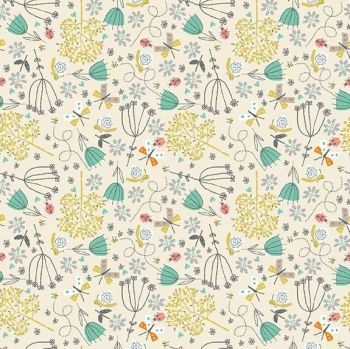 Makower A Walk In The Park Flowers Cotton Fabric