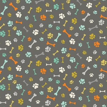 Makower A Walk In The Park Grey Cotton Fabric