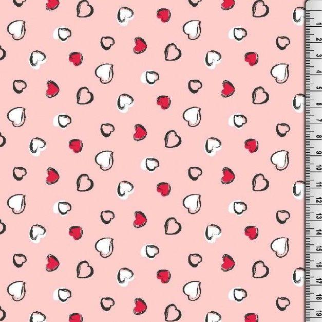 Cotton Poplin Hearts Fabric