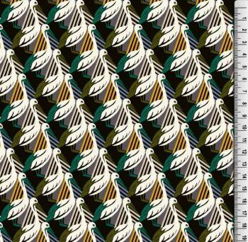 Viscose Pelican Print Fabric Green