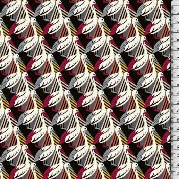 Viscose Pelican Print Fabric Red