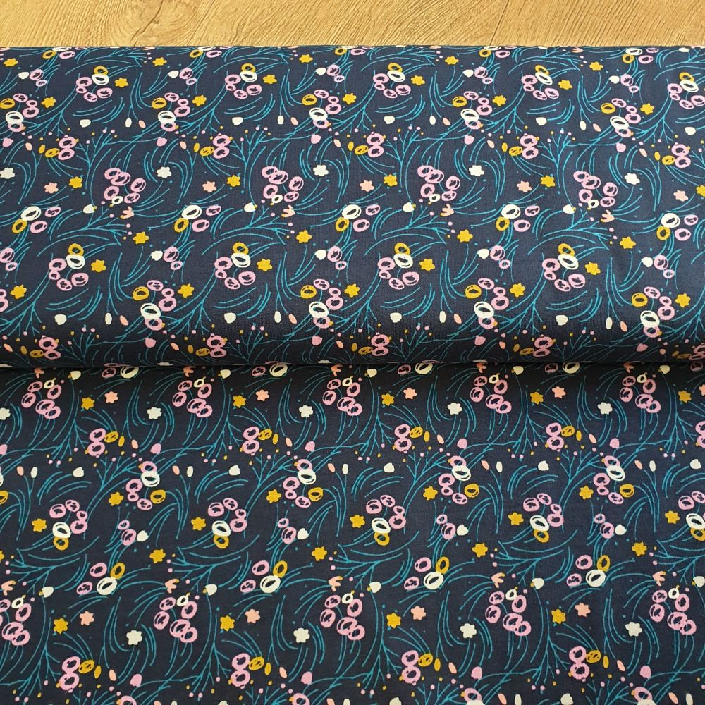 Jersey Fabric Navy Stems