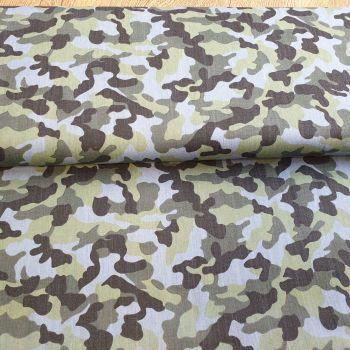 Cotton Denim Camouflage Green