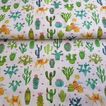 Cotton Fabric Cactus And Camels