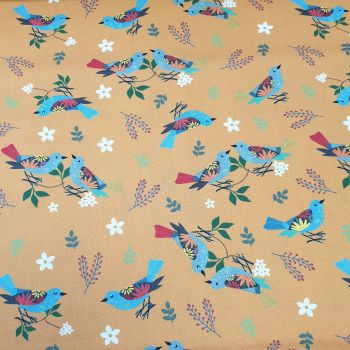 Cotton Fabric Mustard Birds