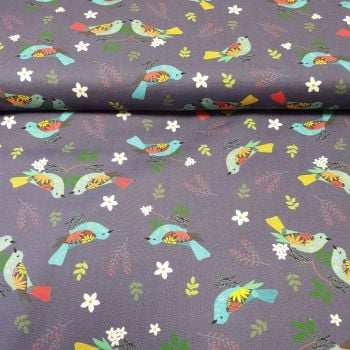 Cotton Fabric Navy Birds