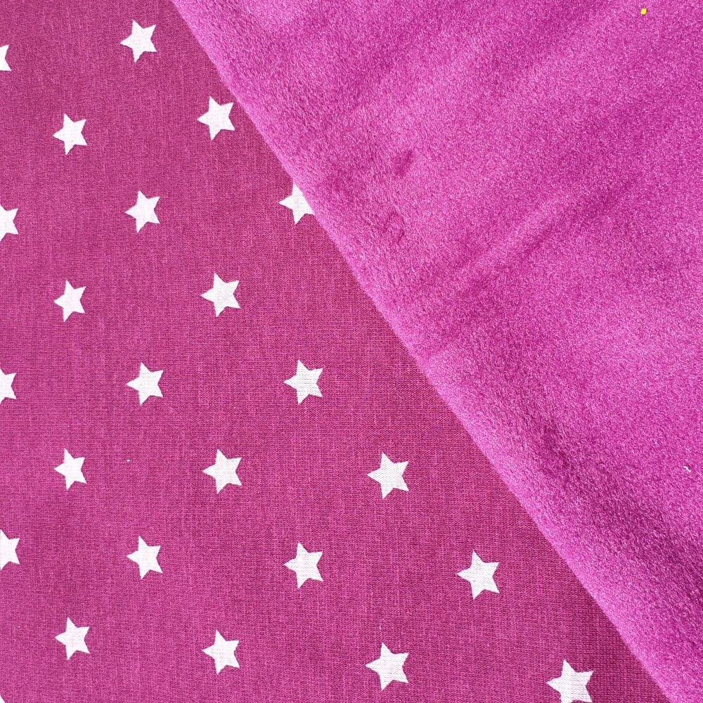 Jersey Fleece Lined Fabric Purple Stars