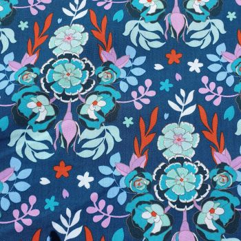 Cotton Fabric Teal Florals