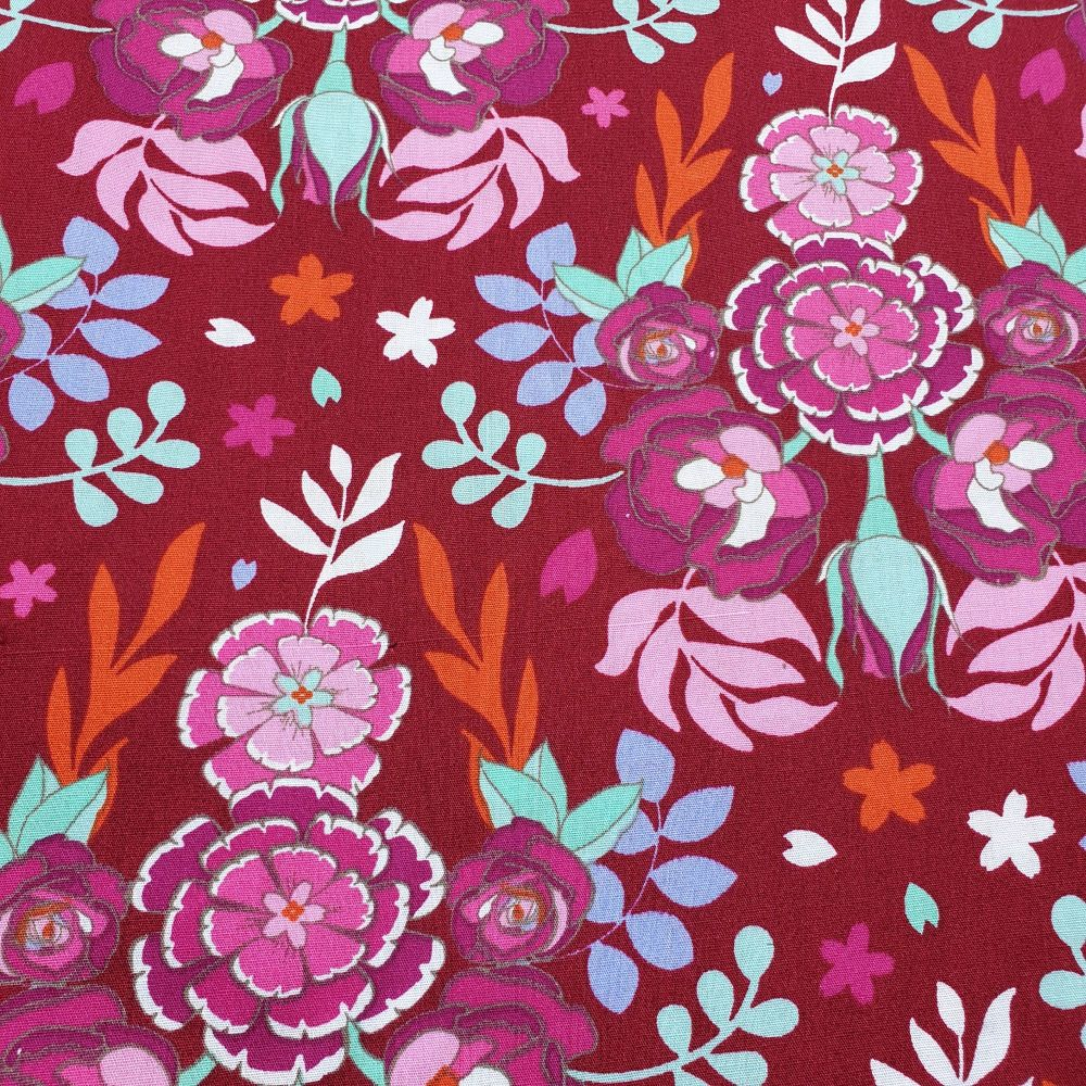 Cotton Fabric Wine Red Florals