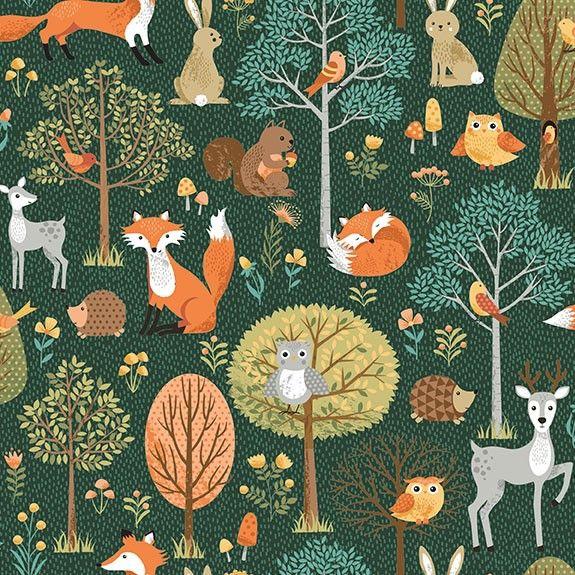 Makower Forest Scene Cotton Fabric