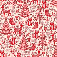 Makower Christmas Scandi Forest Animals Red Cotton Fabric