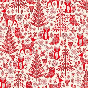 Makower Christmas Scandi Forest Animals Red Cotton Fabric