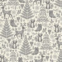 Makower Christmas Scandi Forest Animals Grey Cotton Fabric