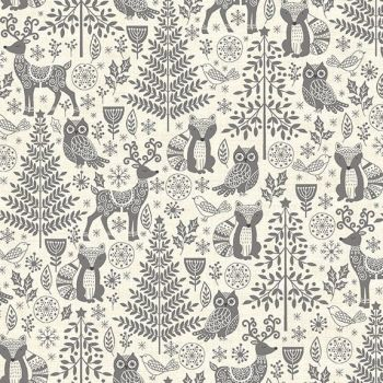 Makower Christmas Scandi Forest Animals Grey Cotton Fabric