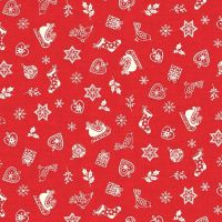 Makower Christmas Scandi Scatter Red Cotton Fabric