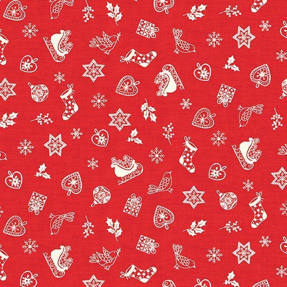 Makower Christmas Scandi Scatter Red Cotton Fabric