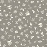 Makower Christmas Scandi Scatter Grey Cotton Fabric