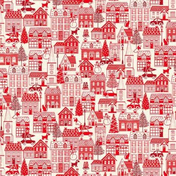 Makower Christmas Scandi House Red Cotton Fabric