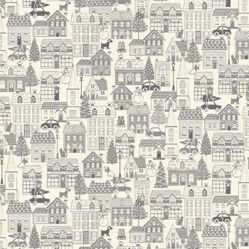 Makower Christmas Scandi House Grey Cotton Fabric