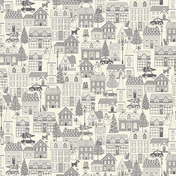 Makower Christmas Scandi House Grey Cotton Fabric