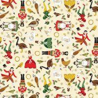 Makower Christmas Twelve Days Metallic Icons Cotton Fabric