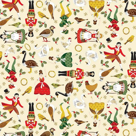 Makower Christmas Twelve Days Icons Cotton Fabric