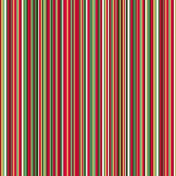 Makower Christmas Twelves Days Stripes Cotton Fabric