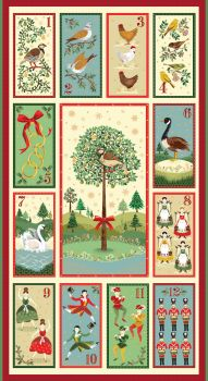 Makower Christmas Twelve Days Panel Cotton Fabric