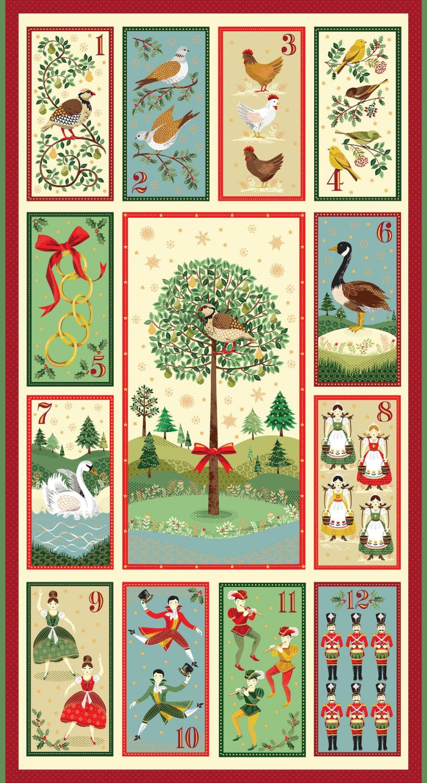 Makower Christmas Twelve Days Panel Cotton Fabric