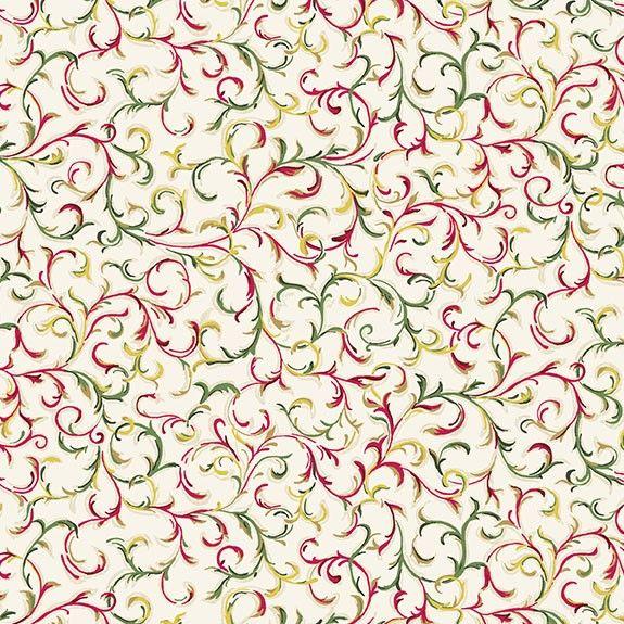 Makower Christmas Twelves Days Metallic Scroll Cotton Fabric