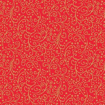 Makower Christmas Twelves Days Metallic Scroll Red Cotton Fabric